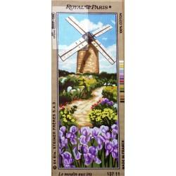 Canevas à broder 25 x 60 cm marque ROYAL PARIS thème le moulin aux iris fabrication française
