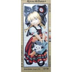 Canevas à broder 25 x 60 cm marque ROYAL PARIS thème alsacienne d'après Pio fabrication française
