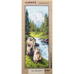 Canevas à broder 25 x 60 cm marque MARGOT thème les marmottes Création de Paris
