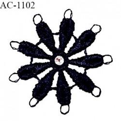 Noeud guipure 30 mm couleur bleu marine décor lingerie strass au centre haut de gamme prix à la pièce
