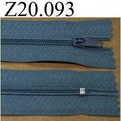 fermeture éclair longueur 20 cm couleur bleu gris non séparable zip nylon largeur 2.5 cm