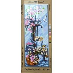 Canevas à broder 25 x 60 cm marque ROYAL PARIS thème la fontaine fleurie made in France