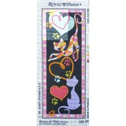 Canevas à broder 25 x 60 cm marque ROYAL PARIS thème HISTOIRE DE CHATS d'après Chiquet et Zurek