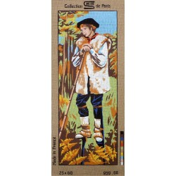 Canevas à broder 25 x 60 cm marque ROYAL PARIS thème le berger landais fabrication française