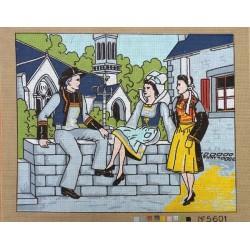 Canevas à broder 50 x 60 cm  thème TRADITION LES BRETONS retouché main