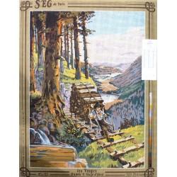 Canevas à broder 45 x 60 cm marque SEG DE PARIS thème les Vosges d'après Hugo d'Alesi