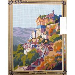 Canevas à broder 45 x 60 cm marque SEG DE PARIS thème Rocamadour d'après Cammardmond fabrication française