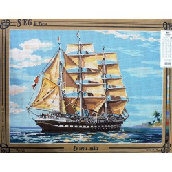 Canevas à broder 45 x 60 cm marque SEG DE PARIS thème LE VOILIER le trois mats fabrication française