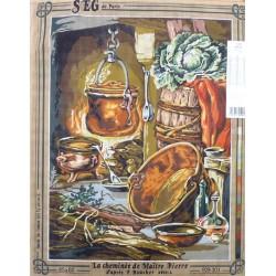 Canevas à broder 45 x 60 cm marque SEG DE PARIS thème la cheminée de maitre Pierre d'après BOUCHER fabrication française