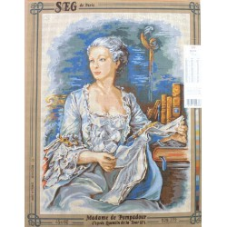 Canevas à broder 45 x 60 cm marque SEG DE PARIS thème Madame de Pompadour d'après Quentin de la Tour fabrication fr