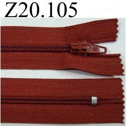 fermeture éclair  longueur 20 cm couleur rouille non séparable zip nylon  largeur 2.5 cm