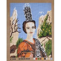 Canevas à broder 50 x 60 cm  thème COIFFE TRADITIONNELLE BRETONNE retouché à la main