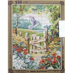 Canevas à broder 45 x 60 cm marque SEG DE PARIS thème le chemin du printemps fabrication française