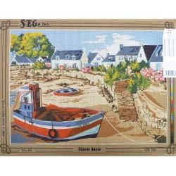 Canevas à broder 45 x 60 cm marque SEG DE PARIS thème l'escale fabrication française
