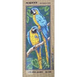 Canevas à broder 25 x 60 cm marque MARGOT thème OISEAUX LES ARAS JAUNES fabrication française