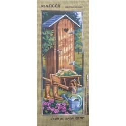 Canevas à broder 25 x 60 cm marque MARGOT thème l'abri de jardin fabrication française