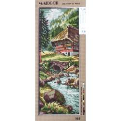 Canevas à broder 25 x 60 cm marque MARGOT thème le chalet de montagne fabrication française