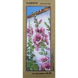 Canevas à broder 25 x 60 cm marque MARGOT thème les roses trémières fabrication française