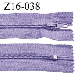 Fermeture zip 16 cm couleur parme lilas non séparable largeur 2.5 cm glissière nylon largeur 4 mm prix à l'unité
