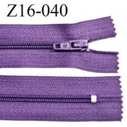 Fermeture zip 16 cm non séparable couleur violet zip glissière nylon invisible largeur 4 mm largeur 27 mm prix à l'unité
