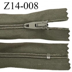 Fermeture zip 14 cm non séparable couleur kaki zip glissière nylon invisible largeur 4 mm largeur 25 mm prix à l'unité