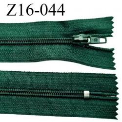 Fermeture zip 16 cm non séparable couleur vert bouteille zip glissière nylon invisible largeur 4 mm largeur 27 mm prix à l'unité