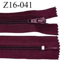 Fermeture zip 16 cm non séparable couleur bordeaux zip glissière nylon invisible largeur 4 mm largeur 27 mm prix à l'unité