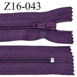 Fermeture zip 16 cm non séparable couleur aubergine zip glissière nylon invisible largeur 4 mm largeur 27 mm prix à l'unité