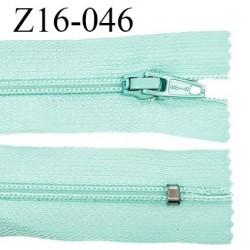 Fermeture zip 16 cm non séparable couleur vert aigue marine zip glissière nylon invisible largeur 27 mm prix à l'unité