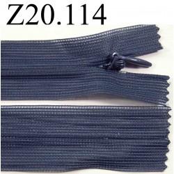 fermeture  éclair invisible longueur 20 cm couleur bleu gris non séparable zip nylon largeur 2,4 cm