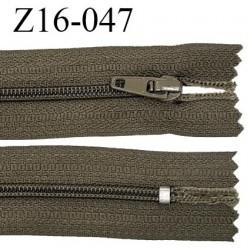 Fermeture zip 16 cm non séparable couleur vert kaki marine zip glissière nylon invisible largeur 27 mm prix à l'unité