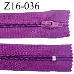 Fermeture zip 16 cm couleur violine non séparable largeur 2.5 cm glissière nylon largeur 4 mm prix à l'unité