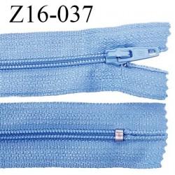 Fermeture zip 16 cm couleur bleu non séparable largeur 2.5 cm glissière nylon largeur 4 mm prix à l'unité