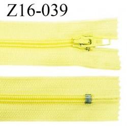 Fermeture zip 16 cm couleur jaune citron non séparable largeur 2.5 cm glissière nylon largeur 4 mm prix à l'unité