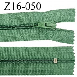 Fermeture zip 16 cm non séparable couleur vert zip glissière nylon invisible longueur 16 cm largeur 27 mm prix à l'unité