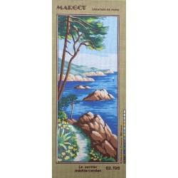 Canevas à broder 25 x 60 cm marque MARGOT thème le sentier méditerranéen fabrication française