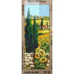 Canevas à broder 25 x 60 cm marque ROYAL PARIS thème soleils du midi fabrication française