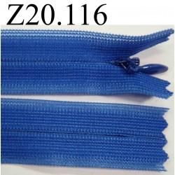 fermeture éclair invisible longueur 20 cm couleur bleu non séparable zip nylon largeur 2 cm