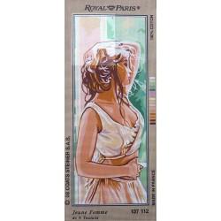 Canevas à broder 25 x 60 cm marque ROYAL PARIS thème JEUNE FEMME de N.Toutain fabrication française