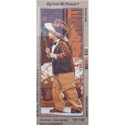 Canevas à broder 25 x 60 cm marque ROYAL PARIS thème LA ROSE ST VALENTIN par K.Anderson fabrication française