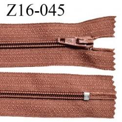 Fermeture zip 16 cm non séparable couleur terracota zip glissière nylon invisible longueur 16 cm largeur 27 mm prix à l'unité