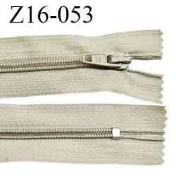 Fermeture zip 16 cm non séparable couleur beige clair zip glissière nylon invisible longueur 16 cm largeur 27 mm prix à l'unité