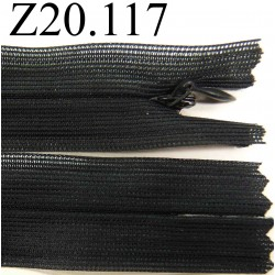 fermeture éclair invisible longueur 20 cm couleur gris anthracite prèsque noir non séparable zip nylon largeur 2,5 cm