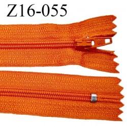Fermeture zip 16 cm non séparable couleur orange zip glissière nylon invisible longueur 16 cm largeur 27 mm prix à l'unité