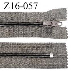 Fermeture zip 16 cm non séparable couleur gris taupe zip glissière nylon invisible longueur 16 cm largeur 27 mm prix à l'unité