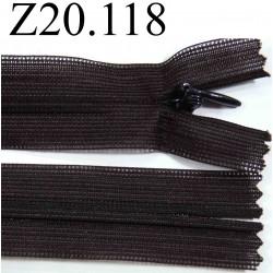 fermeture éclair invisible longueur 20 cm couleur marron non séparable zip nylon largeur 2,5 cm