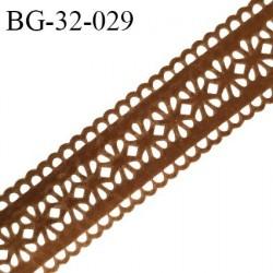 Galon ruban 32 mm style daim ou velours perforé couleur marron largeur 32 mm prix au mètre