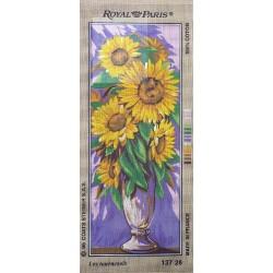 Canevas à broder 25 x 60 cm marque ROYAL PARIS thème les tournesols fabrication française