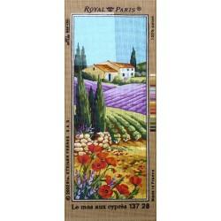 Canevas à broder 25 x 60 cm marque ROYAL PARIS thème le mas aux cyprès fabrication française