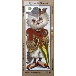 Canevas à broder 25 x 60 cm marque ROYAL PARIS thème Mr Hulot le hibou d'aprés Pio fabrication française